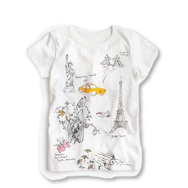 CREWCUTS J CREW 2019 Girls' world tour T-shirt Top Children