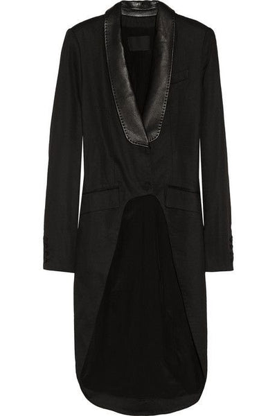ALEXANDER WANG  Leathertrimmed Woven Tailcoat Jacket Size US 6 UK 10 Ladies
