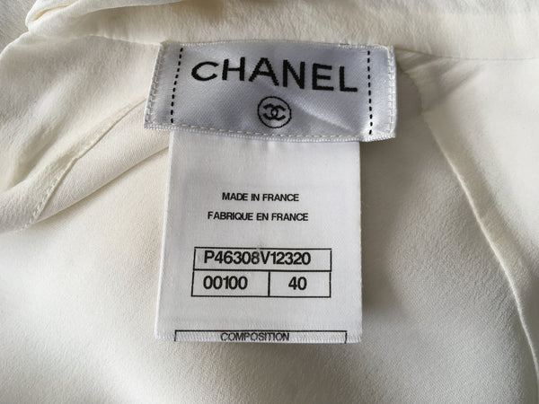 Chanel 09A MOST WANTED Paris Moscow Ivory Silk Ruffle blouse F 40 UK 12 US 8 LADIES