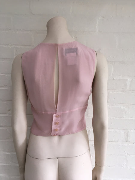 Chanel 02P pink pleated sleeveless crop top blouse  F 36 UK 6 US 2 XS Ladies