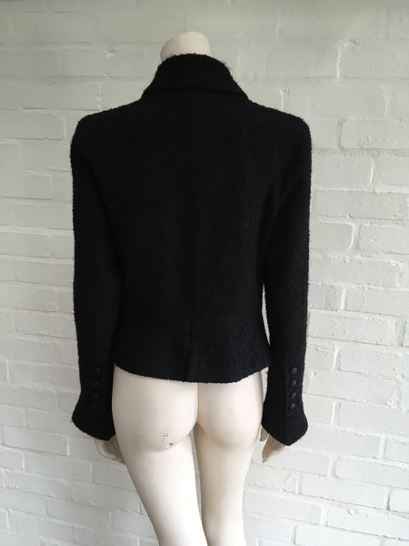Chanel 09A Tweed Mohair Black Jacket Blazer Exquisite F 42 UK 14 US 10 2009 Ladies