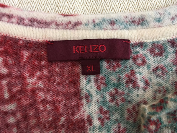 Kenzo Patchwork Wool Knit Top Size XL Ladies
