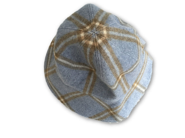 LORO PIANA PRINTED BLUE CASHMERE BUCKET HAT SIZE M MEDIUM LADIES
