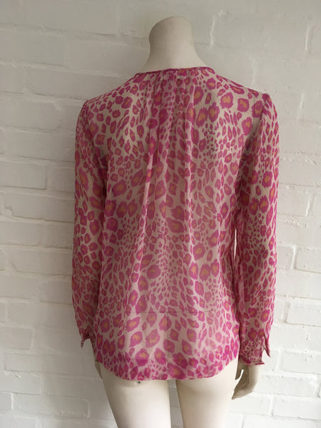 By Malene Birger Josittia Leopard Pink Silk Shirt Blouse 38 S LADIES