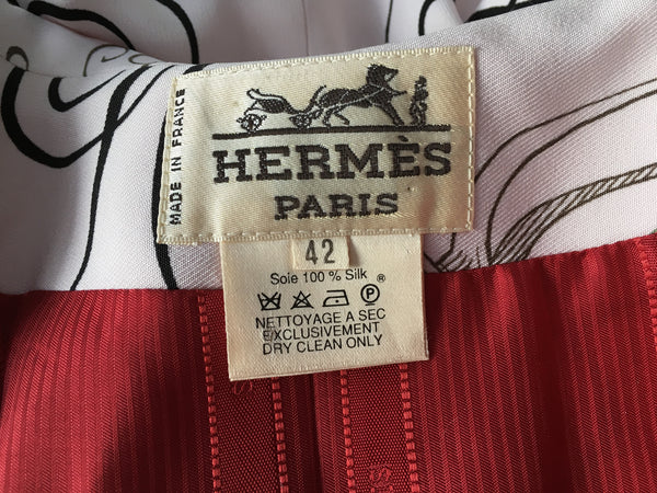 HERMÈS HERMES PARIS Exercices pour Former la Main SILK PRINTED BLAZER F 42 L Ladies