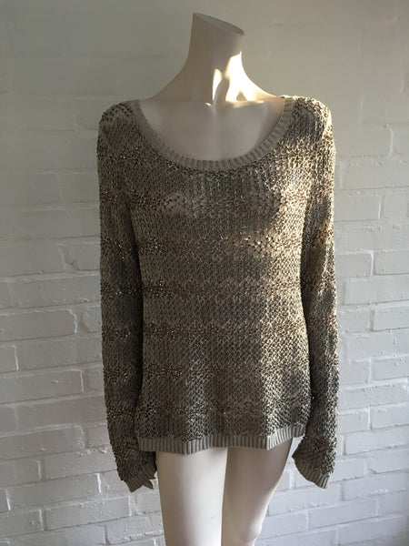ALICE + OLIVIA BRENNA CROCHET EMBELLISHED SEQUINS CREWNECK SWEATER SIZE L LARGE Ladies