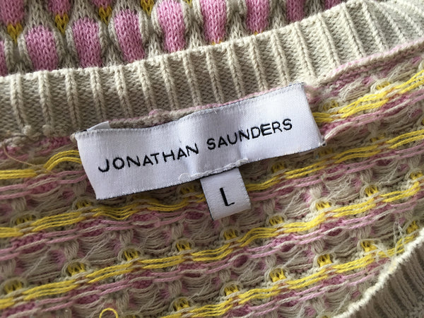 JONATHAN SAUNDERS Oval waffle-knit cotton sweater jumper Size L Large Ladies