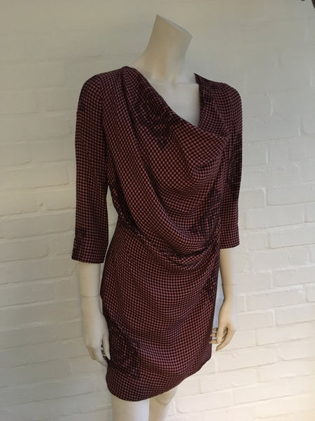 VIVIENNE WESTWOOD RED LABEL COWL NECK MIDI CHECKED DRESS SIZE 40 LADIES