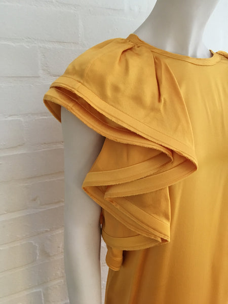 LANVIN Yellow Silk Eté 2008 Runaway Huge Sleeves Dress SZ 38 Ladies