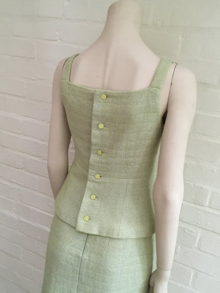 Chanel 00S 2000 MOST WANTED Tweed Green 2-piece Top Skirt suit F 36 UK 8 US 4 S LADIES