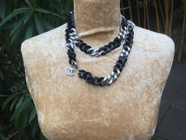 Chanel 07P Black Resin & Brushed Silver Long Necklace
