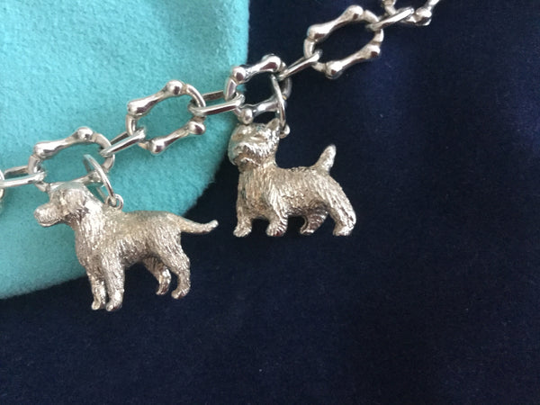 Tiffany & Co Silver Dogs Poodle Westie Retriever Charm Bracelet Bangle 7.9 Inch!