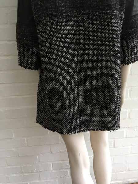 CHANEL AMAZING $7,555.00 LEATHER & FANTASY TWEED DRESS TUNIC SZ F 38 S SMALL ladies
