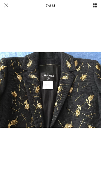 Chanel Amazing Rare Jacket with sheath of wheat hand Embroidery F 38 UK 10 US 6 Ladies