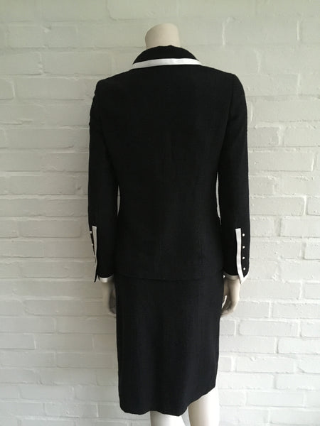 Chanel 04P Black Wool Silk 2-piece suit F 36 UK 8 US 4 S LADIES