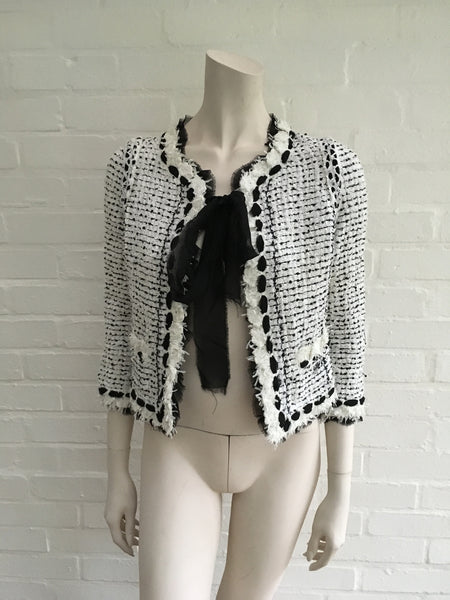 CHANEL 05P MOST WANTED TWEED JACKET WITH CHIFFON BOWS F 36 UK 8 US 4 S $4,500 ladies
