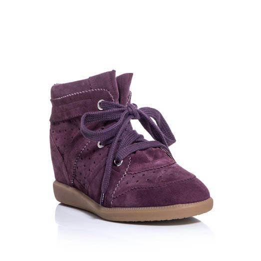 "Isabel Marant   Suede ""Bobby"" Wedge Khaki & Plum  Sneakers Shoes SZ 39 & 38  LADIES"