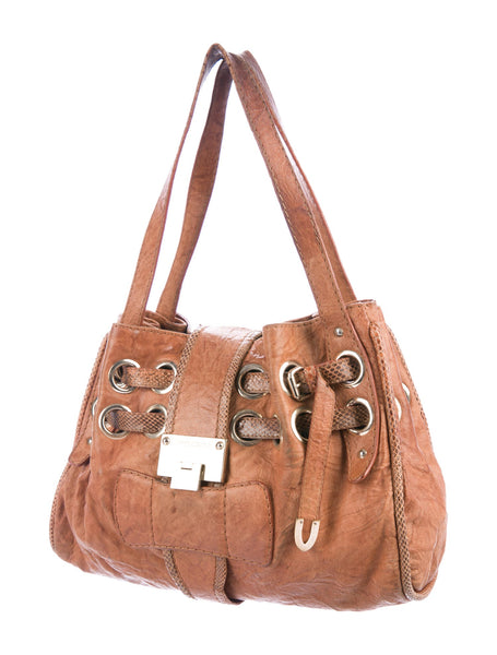 JIMMY CHOO Brown Leather Ramona Tote Bag Handbag ladies