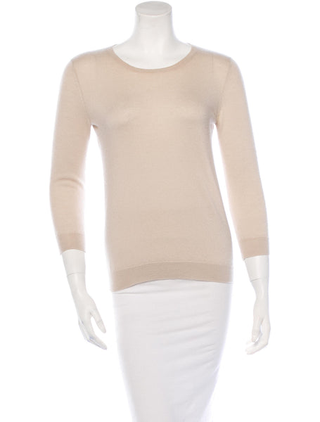 TSE PURE CASHMERE BEIGE KNIT CREW-NECK SWEATER S SMALL LADIES