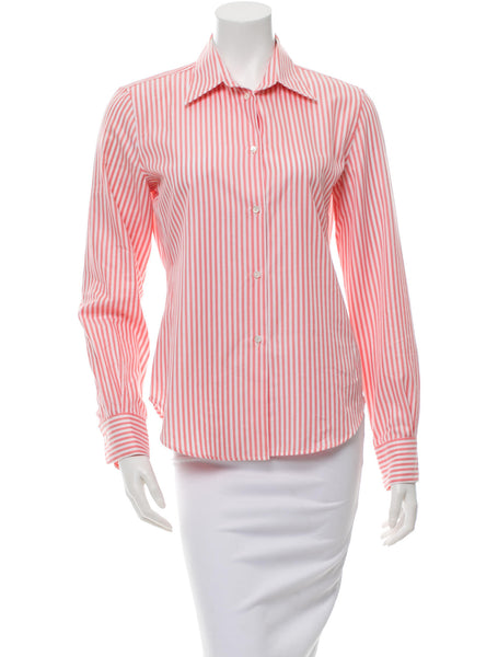 LORO PIANA STRIPED BUTTON-UP SHIRT SILK COTTON I 44 L LARGE LADIES