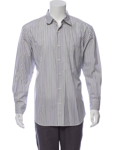 "BURBERRY LONDON LONG SLEEVE BUTTON-UP STRIPED SHIRT SIZE 16 1/2"" 35 men"