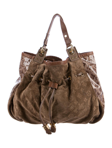 LOUIS VUITTON Limited Edition Suede Patent Monogram Irene Coco Bag Handbag Hobo Ladies