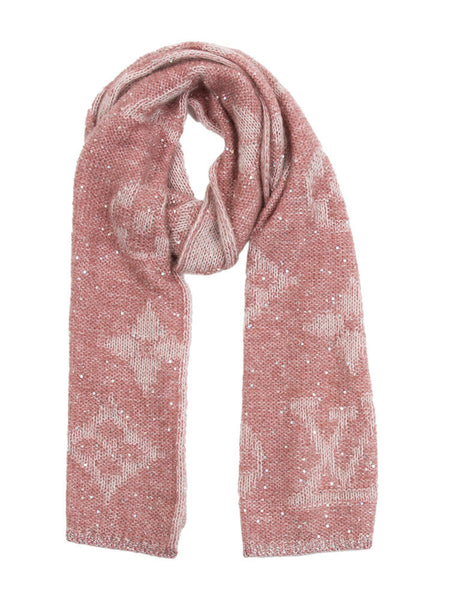 LOUIS VUITTON Monogram Sunset Mohair Scarf Aurore Ladies