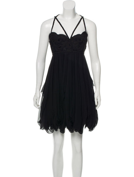 Marchesa Embellished Embroidered LBD silk SO COUTURE Dress  Ladies