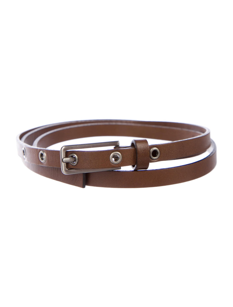 MARNI Brown Leather Skinny Belt Size 75  JUST AMAZING Ladies