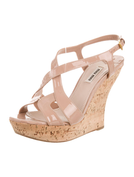 MIU MIU PATENT LEATHER sandals Wedges Size 37.5 UK 4.5 US 7.5 Ladies