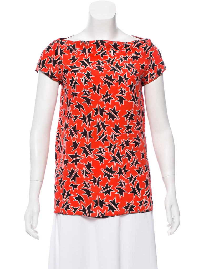 MIU MIU Silk Star Print Top Ladies
