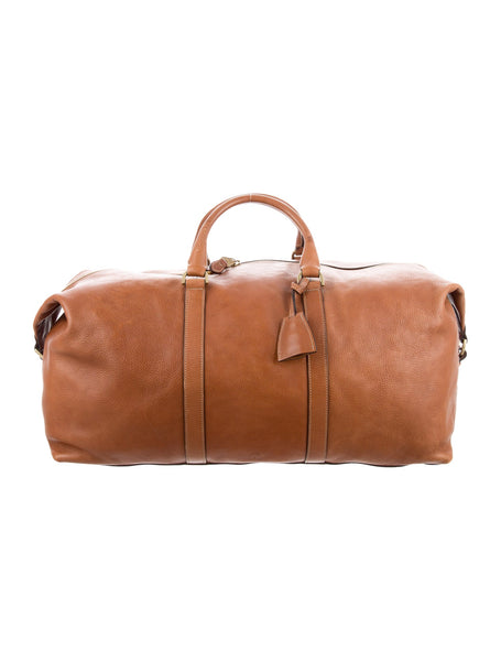 MULBERRY -Brown Embossed Leather Weekender Bag Luggage MEN