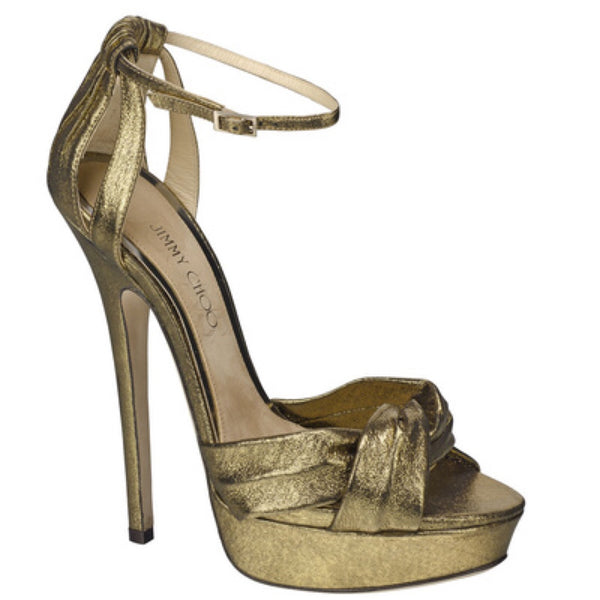 JIMMY CHOO ICONS Greta lamé-covered suede sandals Size 36 UK 3 US 6 ladies