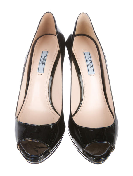 PRADA Black Patent Leather Round-Toe Pumps SHOES SIZE 36 UK 3 US 6 Ladies
