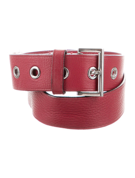 PRADA Red Leather Hip Belt Size 85 / 34 Ladies