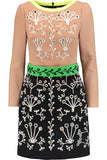 Peter Pilotto Brown Cari Embellished Embroidered Wool-Crepe Mini Dress Ladies