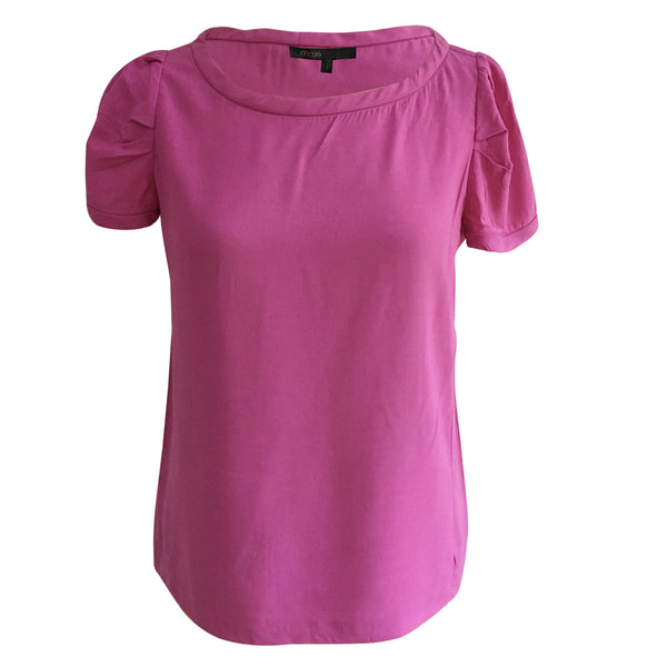 MAJE Hitch ruched twill top in pink  Size 2 M Medium Ladies