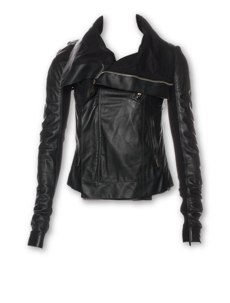 RICK OWENS Black Leather Turtleneck Jacket Size XS UK 6 US 2 CELEBRITIES FAV Ladies