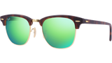 RAY BAN RB 3016 1145 19 GREEN MIRROR CLUBMASTER SUNGLASSES