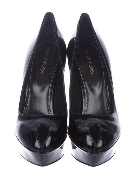 SERGIO ROSSI PATENT LEATHER PLATFORM BLACK PUMPS SHOES  Ladies