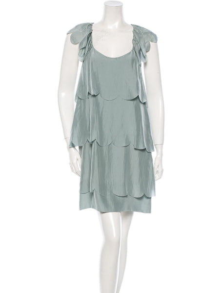 STELLA MCCARTNEY SILK DRESS RUFFLE SIZE I 40 S SMALL LADIES