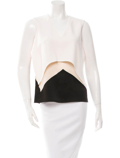 STELLA MCCARTNEY BLACK BEIGE WHITE TOP I 42 M MEDIUM LADIES