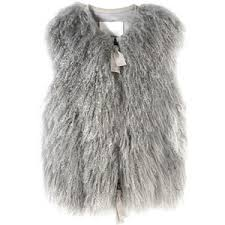 3.1 PHILLIP LIM Curly Fur Vest with Grosgrain Trim Ladies