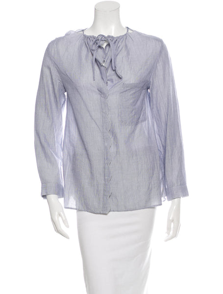 VANESSA BRUNO LONG SLEEVE STRIPED BUTTON-UP SHIRT F38 S SMALL LADIES