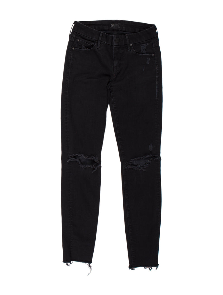 MOTHER The Looker Ankle Fry Mid Waist Distressed Jeans Black Size 27 Ladies
