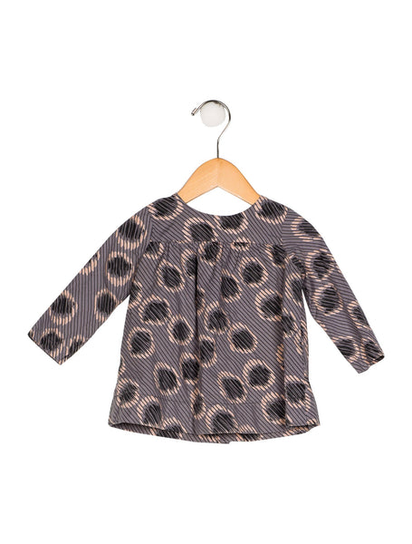 BONPOINT Girls' Printed Grey GIRL DRESS BLOUSE Children