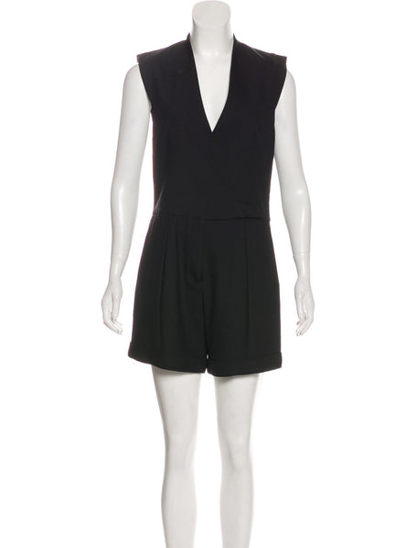 Helmut Lang black wool one-piece tuxedo shorts jumpsuit  LADIES