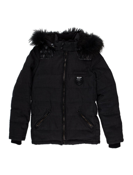 THE KOOPLES WOOL PUFFER DOWN JACKET IN NAVY LEATHER TRIM RACCON Size XL Men