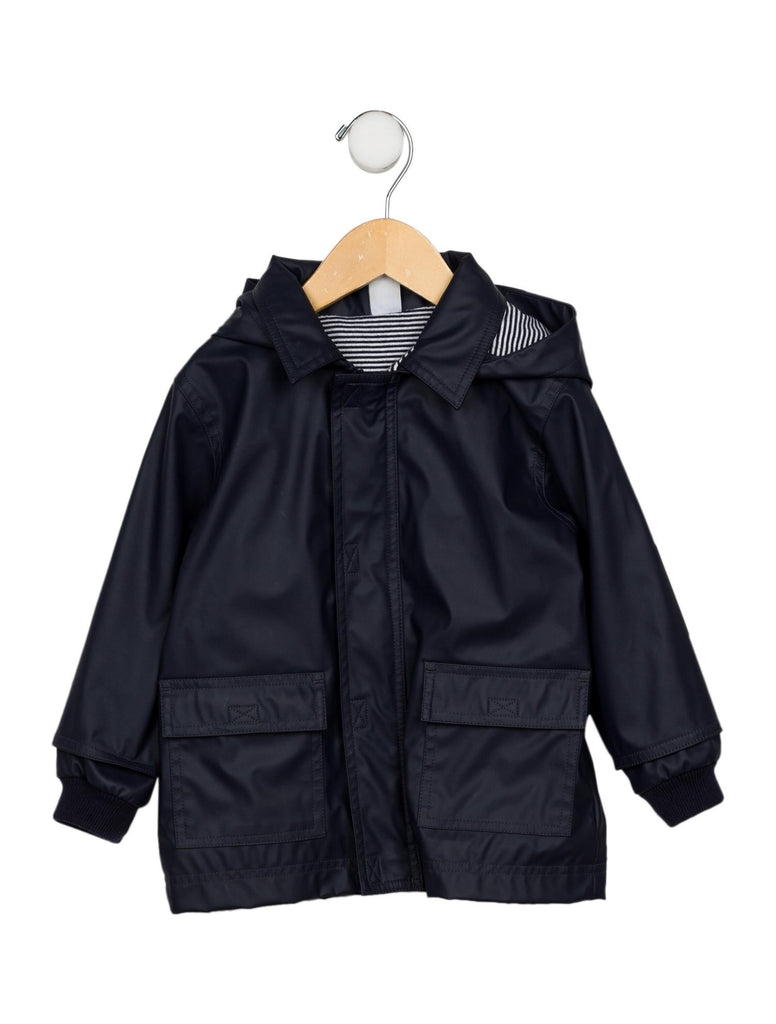 Petit Bateau Boys' Hooded Raincoat in Navy Blue Size 4 years 102 cm children