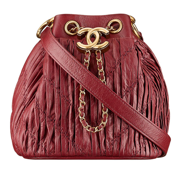 CHANEL Coco Pleated Drawstring Bag Burgundy 2018 Handbag Amazing Runaway Ladies